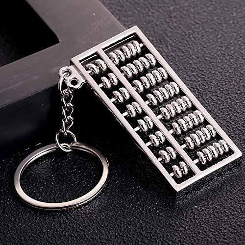 Sinzong Keychain Damestassen Activity Parel 6 bestanden 8 bestanden goud en zilver abacus metaal sleutelring auto sleutelring ketting accessoires 2 stuks 8, zilver