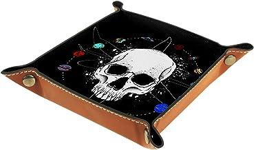 HOHOHAHA Taca na kostki, składana taca do toczenia ze skóry PU do gry w kości dom przechowywanie planeta biała czaszka 20,...