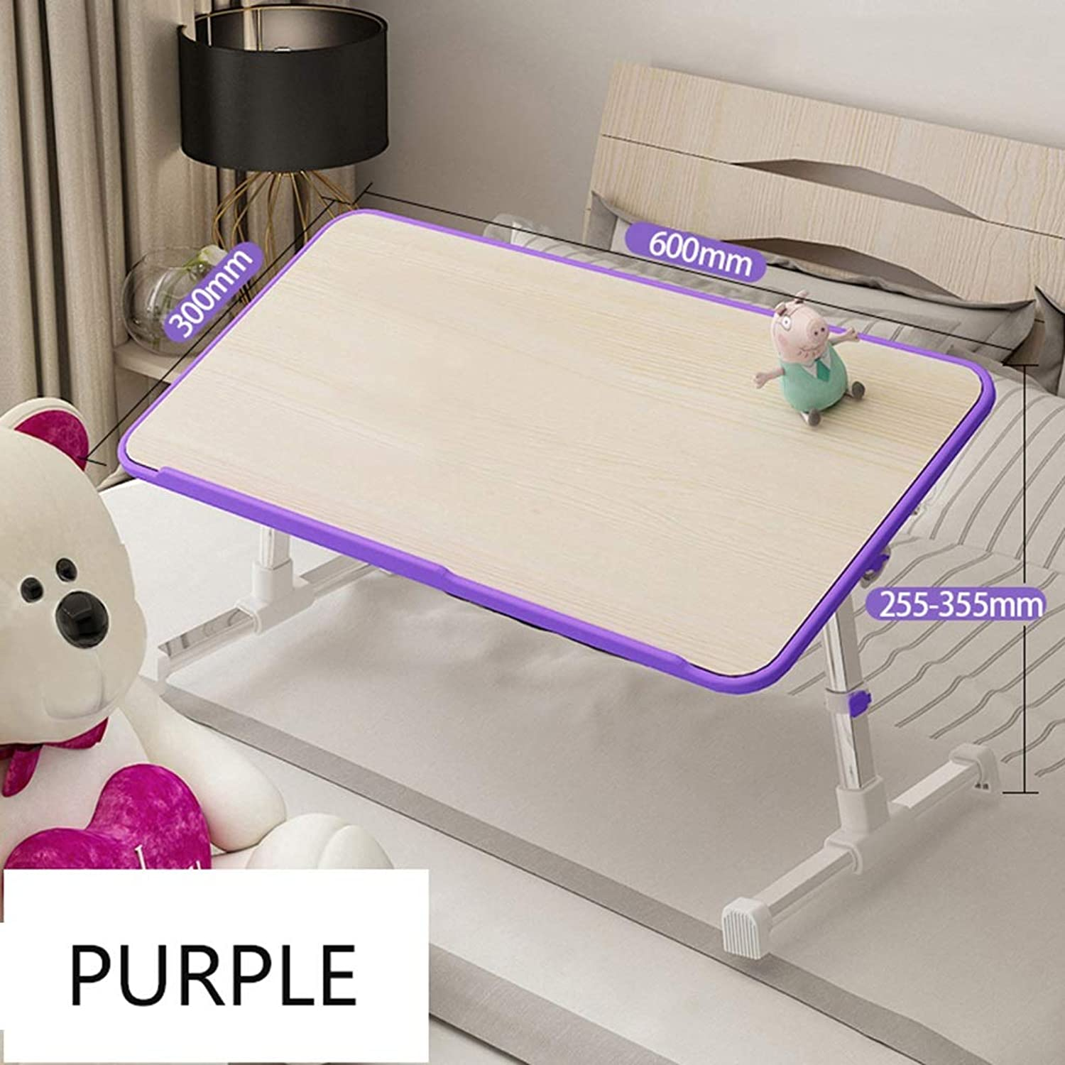 Folding Table Creative Multi-Function Bed Small Folding Table Computer Notebook Study Desk-Home Bedroom College Dormitory Dormitory (color   Purple, Size   600x300x255-355mm)