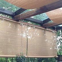FF Estores enrollables Sombrilla Exterior Enrollable, Persianas Enrollables Exteriores para Terraza Gazebo Pergola Porch, Fácil De Arreglar, Carbonizado, 80/100/120/140 Cm De Ancho (Size : 120×220cm)