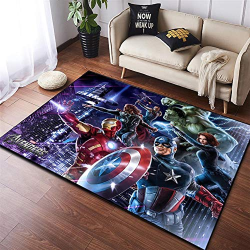 HMZ Marvel Los Vengadores 4 Alfombra De Felpa Iron Man Batman Capitán América Manta De Algodón para Niños,D,60x90cm