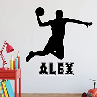 Personalized Basketball Player Wall Decal - Athlete Slam Dunking for Boys Bedroom, Playroom, Locker Room, or Gym - Team Gift