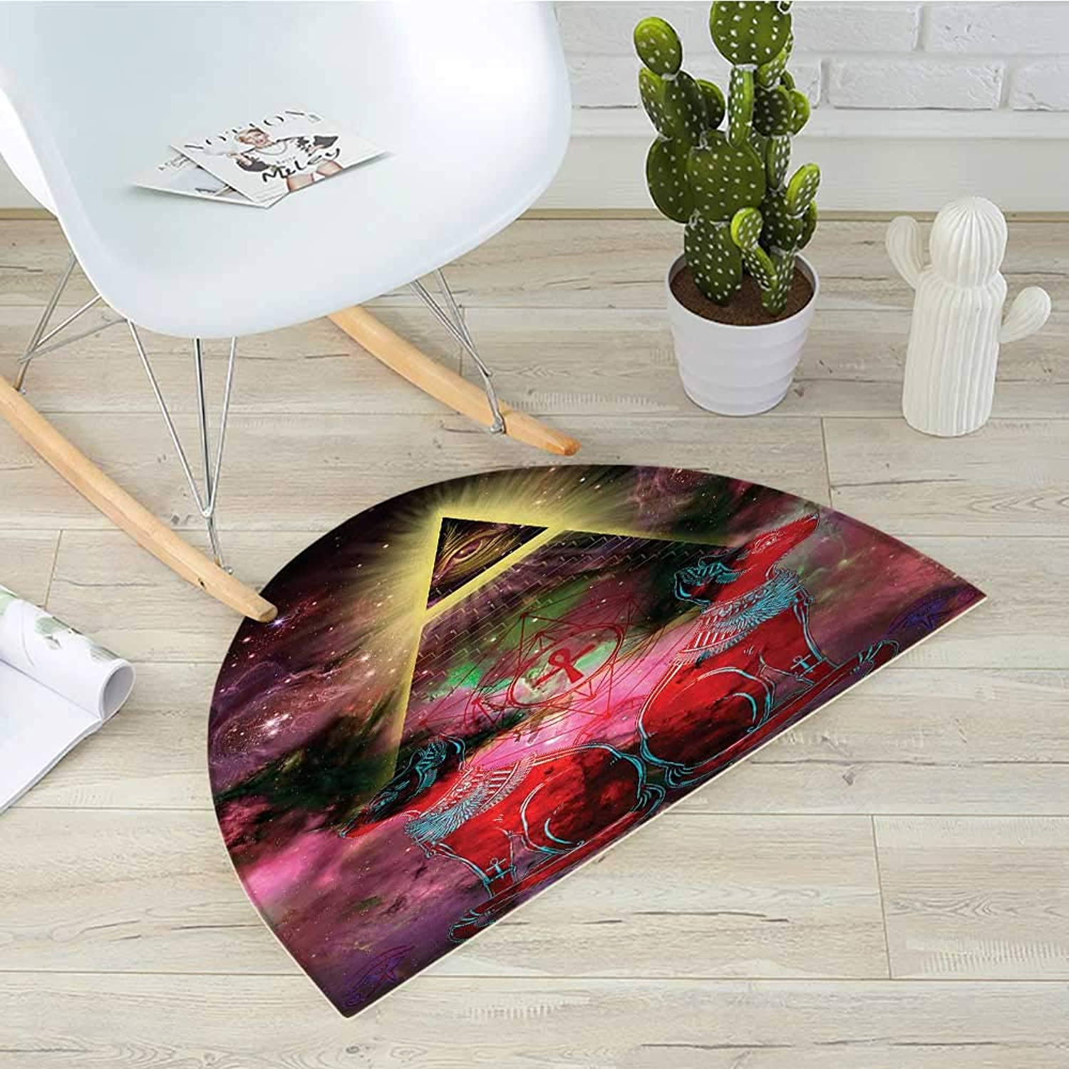 Astronomy Semicircular CushionSacred Ancient Egyptian Pyramids with Occult Sacred Eye and Bastet Artwork Entry Door Mat H 51.1  xD 76.7  Plum and Red