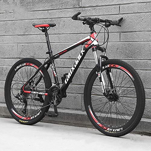 AP.DISHU Bicicleta De Carretera Marco De Acero Al Carbono Ligero De 24 Velocidades Freno De Disco Rueda De Radios Bicicletas De Montaña Bicicletas Rojo,26inch