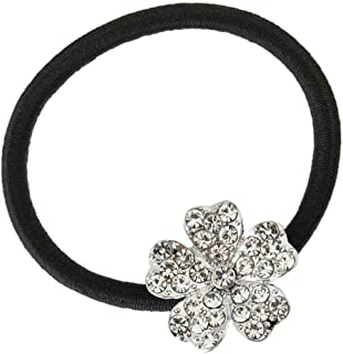 Perfeclan Girls Rhinestone Flower Hair Ropes Ponytail Holder Party Hair Accessory - Silver, as described