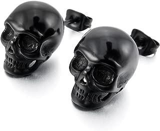 INBLUE Men's Stainless Steel Stud Earrings Silver Tone Black Skull