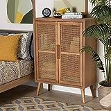 Baxton Studio Alina Mid-Century Modern Medium Oak Finished Wood and Rattan 2-Door Accent Storage Cabinet