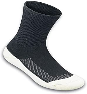 Orthofeet Padded Sole Non-Binding Non-Constrictive Circulation Seam Free Bamboo Socks Black, 3 Pack