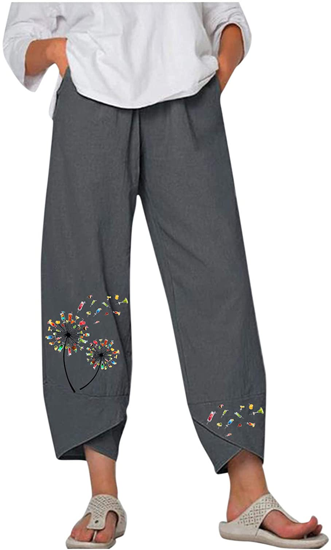 977 Women's High Waist Casual Pants Summer Cotton Linen Loose Long Straight Pants for Work Boho Mujer Pantalones
