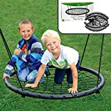 Tree Net Swing w Hanging Rope and Rings- Giant 40' Wide Two Person Indoor Outdoor Spider Web Swingset- Great for Backyard, Playground, Playroom- Safe Durable, Fun for Boys Girls