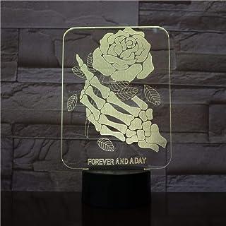 Skull Skeletons Hands Rose Flower 3D Led Night Light Table Desk Lámparas De Ilusión Óptica 7 Colores Que Cambian Las Luces Led Lámpara De Mesa