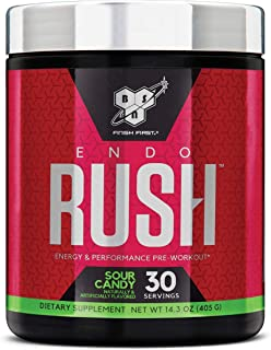 BSN Endorush Pre Workout Powder, Energy Supplement for Men and Women, 300mg of Caffeine, with Beta-Alanine and Creatine, Sour Candy, 30 Servings