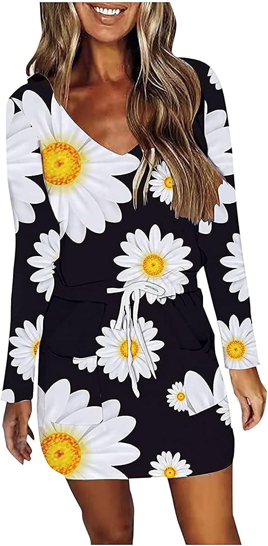 Women's Slim Fit Mini Dress Long Sleeve V Neck Casual Summer Vintage Floral Graphic Drawstring Tunic T Shirt Dresses