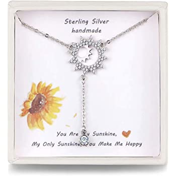 925 Sterling Silver Jewelry Necklace Gift for Her SOULMEET Good Vibes Only Simple Sunflower Necklace