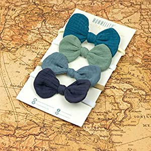 1 Babyschleife Haarband – meeresgrün – weiches Baby Stirnband mit Schleife Musselin – Baby bow – grün blau mint türkis…