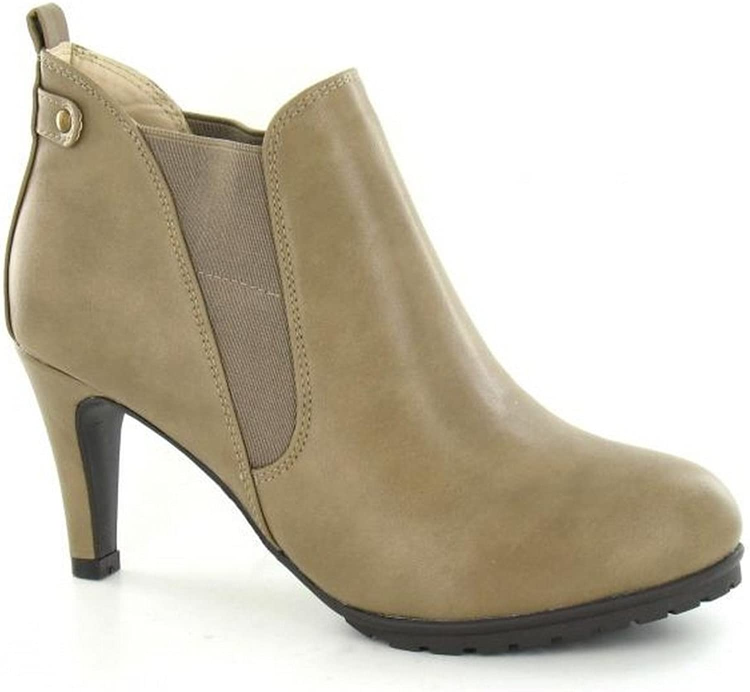 Spot On Womens Ladies Elasticated Heeled Chelsea Boots