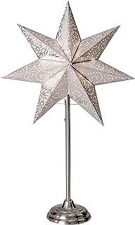 Lampadaire papier étoile étoile Blanc à base de métal argenté 55x 34cm Câble 1,80m 230V E14sans ampoule