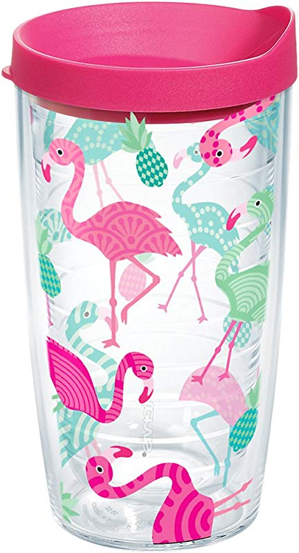 Tervis 1181470 Flamingo Pattern Insulated Tumbler With Wrap And Fuschia Lid 16oz Clear