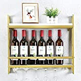 Industrial Wine Racks Wall Mounted with 6 Stem Glass Holder,Rustic Metal Hanging Wine Holder,2-Tiers Wall Mount Bottle Holder Glass Rack,Wood Shelves Wall Shelf Wine Accessories(23.6in,Gold)
