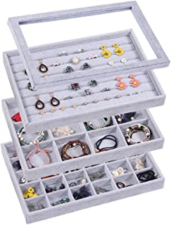 Coward Velvet Stackable Jewelry Organizer Tray for Drawer Necklace Storage Box with Lid Bracelet Display Holder(Gray)
