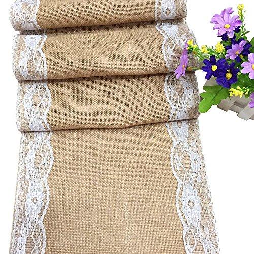 Jute Spitze Tischläufer Tischband Sackleinen Hochzeit Upholstery Dekoration Vintage Jutestoff 275*30cm (1 Stück)
