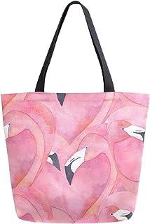 Mnsruu Mnsruu Handtasche/Schultertasche aus Segeltuch, für Damen, mit Griff, Einkaufstasche, Aquarell-Rosa Flamingo-Pärchen, hübsche Herz-Tragetasche, lässig, Strand, Multifunktionstasche für Damen