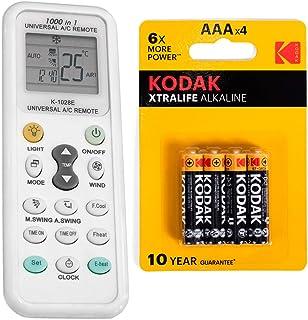 Mando Universal para Aire Acondicionado y Bomba de Calor 1000 en 1 + 4 Pilas AAA Kodak - CON LINTERNA Incorporada A/C Controlador de Temperatura a Distancia Splitter Climatizador Reloj Control Remoto