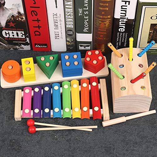 Kinder pädagogisches Spielzeug Hand klopfen Xylophon Jungen und Mädchen 7 8 Monate Baby 2-3 Jahre alt Kinder Früherziehung Aufklärung 8 Ton@Klopfen auf dem Klavier + fünf Säulensätze + Insekten