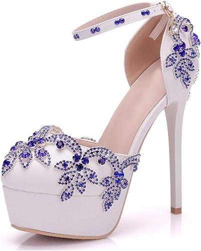 Hhor Plate-Forme à Bout Rond en Cristal sertie de Chaussures de mariée en Satin Blanc Performance Britannique (Couleuré   -, Taille   -)