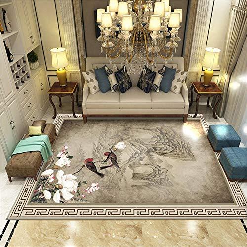 WQ-BBB Alfonbras De Dormitorios Suave Tinta China Pintura Estilo Rural Flor marrón y patrón de pájaro Alfombra Entrada casa Exterior 50X80cm