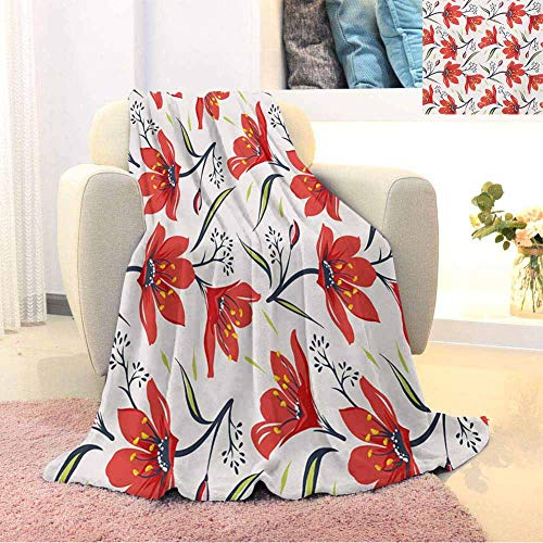 Floral Children's Blanket Hand Drawn Vintage Flourishing Tulip Flowers Nature Garden Theme Pattern Lightweight Soft Warm and Comfortable W70 x L90 Inch Peach Green and Red