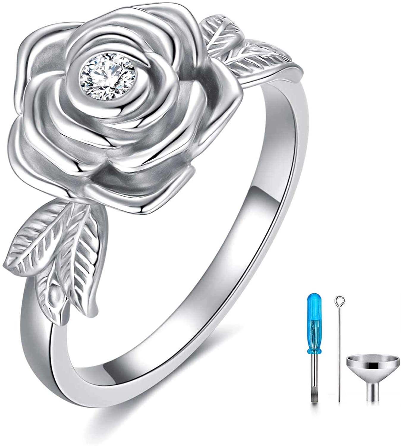 925 Sterling Silver Rose Flower Sales of SALE items from new works Boston Mall Cremation O Holds Ring Urn Loved