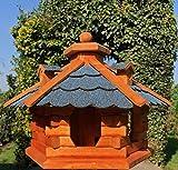 DARLUX Vogelhaus von S bis XXL Futterhaus Vogelhäuschen mit oder ohne Ständer in Braun mit Rot, Grün oder Blau (Gr. L – ohne Ständer, Blau/Braun)