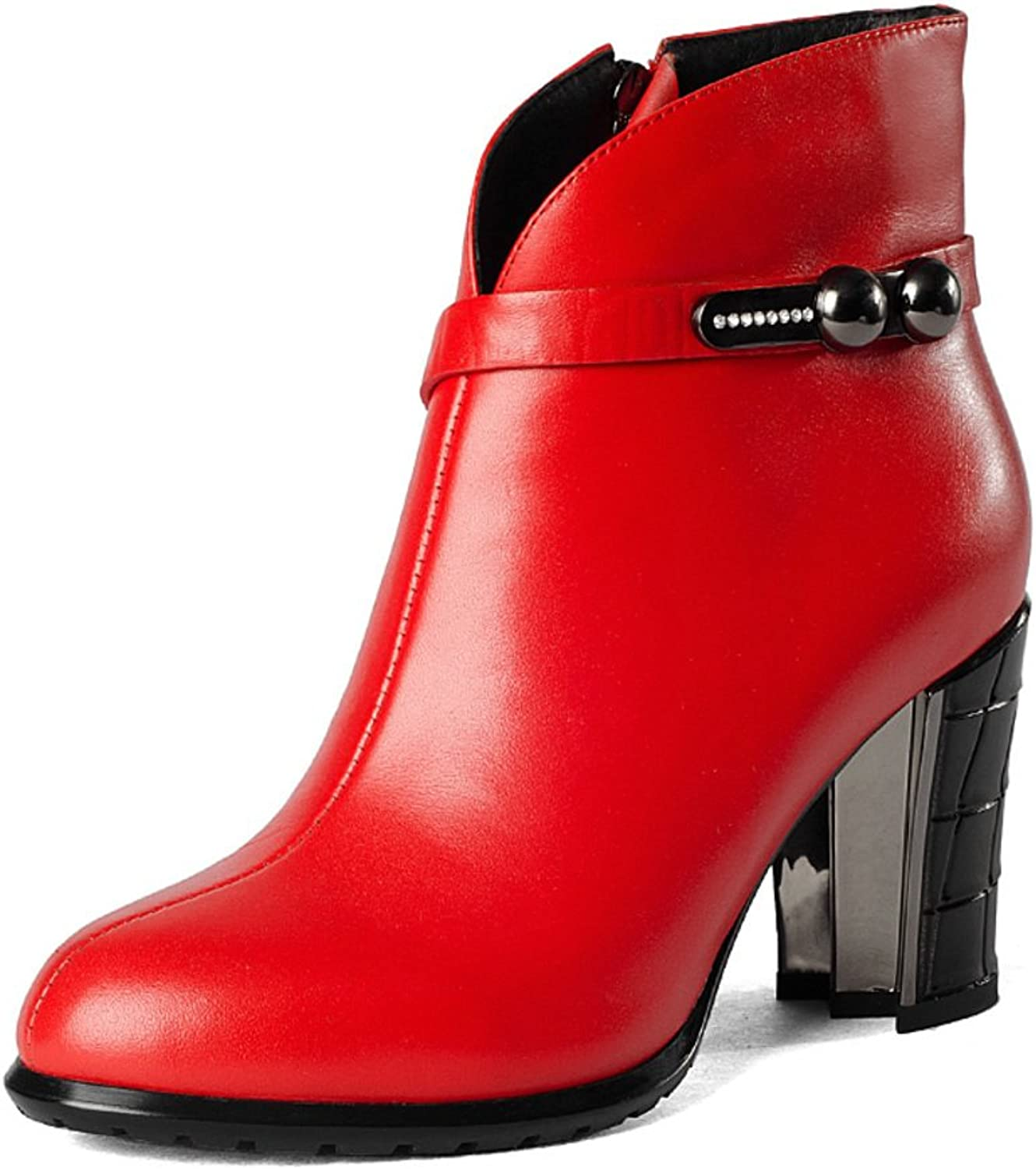 Wind of England Martin boots in winter Rough leather boots with round head spring and autumn high heel boots fashion nude boots