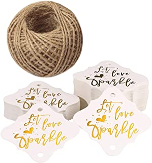 Let Love Sparkle Tags,100PCS Wedding Tags,Original Design Paper Gift Tags with 100 Feet Jute Twine (2.36 inch,Gold Font)