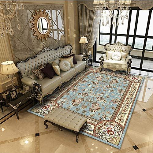 Vlejoy Alfombras Salon Pelo Corto Salón Alfombra Dormitorio Comedor Sofá Clásico Estilo Azul 60x90cm