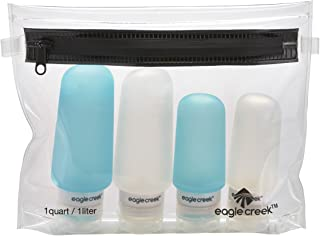 Pack-It Silicone Travel Bottle Toiletry Set, Clear/Aqua, Set of 4
