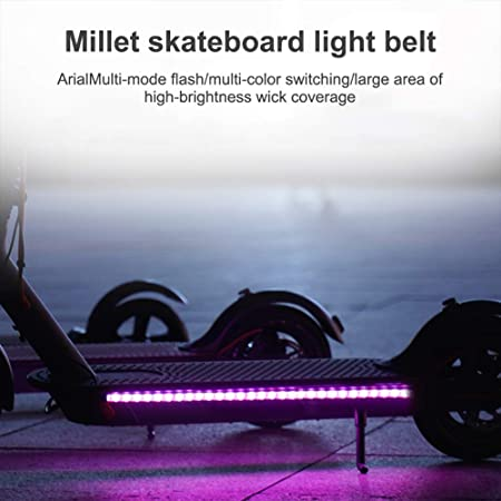 Phonleya Scooter eléctrico, Tira de Luces LED, Ciclismo Nocturno, Impermeable, Plegable, de Seguridad, monopatín, lámpara de Color Decorativa para Xiaomi M365 / Pro/ninebot