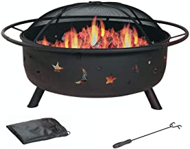 30 Inch Patio Fire Pit - Cosmic for Outdoor with Charchol Grill and Spark Screen - By HomeRoots