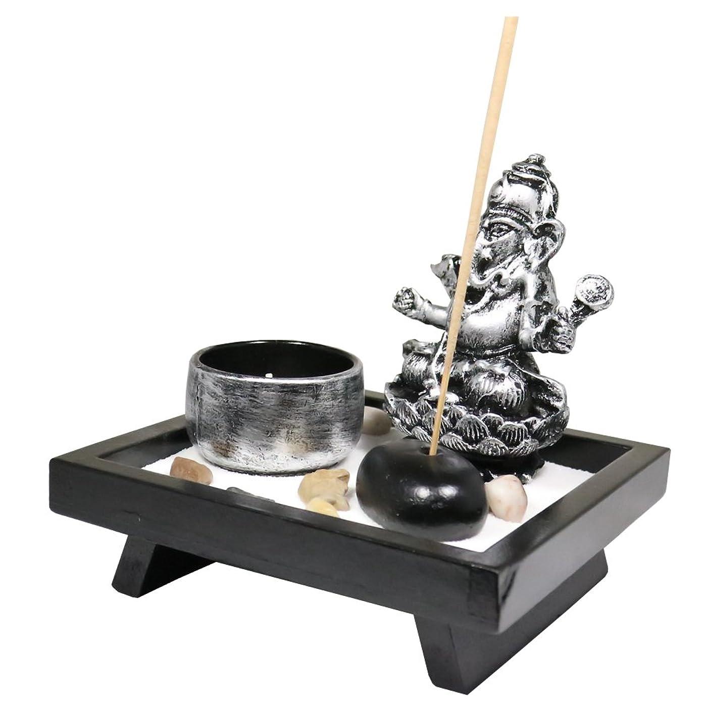 厳しい寄付するファブリック(Ganesha small) - Tabletop Incense Burner Gifts & Decor Zen Garden Kit with Statue Candle Holder USA SELLER (Ganesha small)