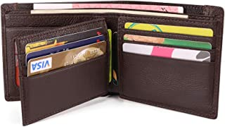 Leather Wallet Slim RFID Blocking Genuine Leather Big Capability Wallet with 2 Banknote Compartments, 10 Credit Card Holde...