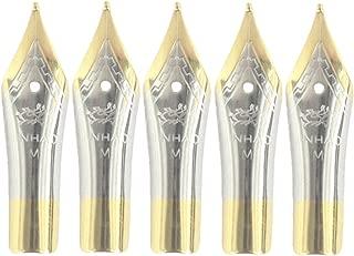 Gullor 5PCS Fountain Pen Nibs Fit Jinhao 250/301/500/5099/8802/9009/5000, Gold, Medium Nib
