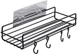 Capr 浴室ラック キッチンシェルフ 強力粘着固定 防水 台所収納ラック 水切り サビ防止 多機能収納(ブラック)