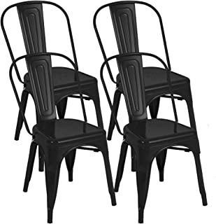 BONZY HOME Metal Dining Chairs, Stackable Side Chairs with Back, Indoor Outdoor Use Chair for Farmhouse, Bistro, Patio, Restaurant, Kitchen, Trattoria Bar, Set of 4 (Black)
