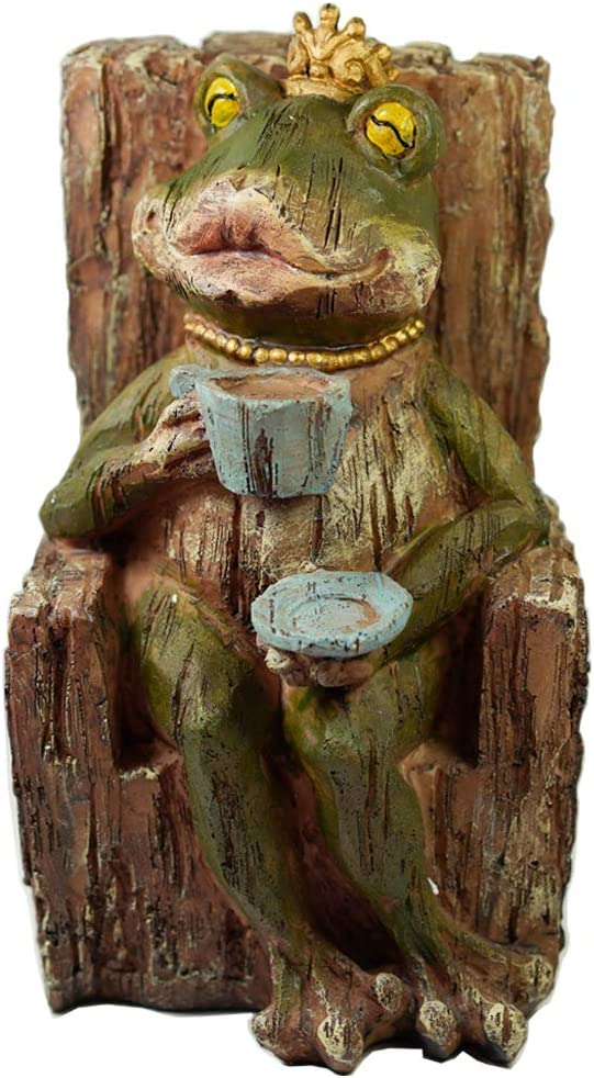 Max 65% OFF Large New product!! Queen Coffee Frog Sitting on Statue Tree Stump Co Drinking