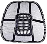 Mesh Lumbar Back Support Lightweight,Embedded with Massage Beads Pegs Cushion Ideal for Home Office Auto Car Seat Chair Massage Breathable Relief from Back, Joint, Arthritis Pain - Black