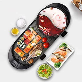 Uttiny Portable Electric Grill, 2000W Electric Indoor and Ourdoor Shabu Shabu Hot Pot with Barbecue Medical Stone Non-Stick Pan for 2-12 People Gatherings (2000W)