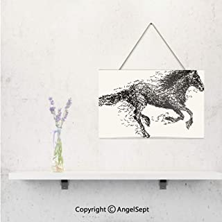 Sketchy Futuristic Unusual Patterned Line Combined Animal Horse Figure,Wooden Decoration Signs Online,Black and White,Home Art Decor Doors and Windows