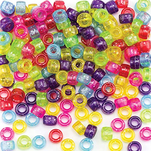 Baker Ross AR306 Ross Glitzernde Pony-Perlen für Kinder zum Gestalten von Schmuck, Perlenarbeiten und Collagen (380 Stück)