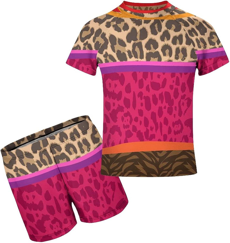 Yiaoflying Kids Boys 2 Piece Swim Set - African Tribal Animal SkinRash Guard Swimsuit Trunks